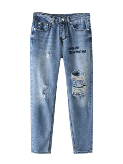 Letter Embroidered Ripped Trapeze Jeans - Light Blue S