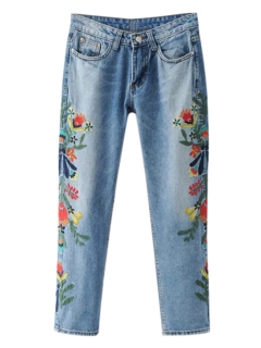 Embroidered Flower Tapered Jeans - Light Blue M