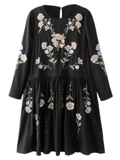 Floral Flowing Tunic Dress And Tank Top - Black S