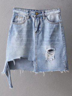 Asymmetric Frayed Hem Distressed Denim Skirt - Light Blue M
