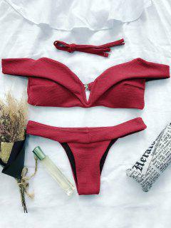 Bikini Traje Baño Cuello V Abertura Hombro  - Rojo L