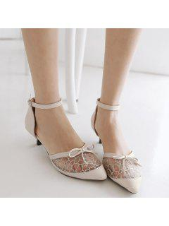 Bowknot Mesh Pumps - Off-white 38