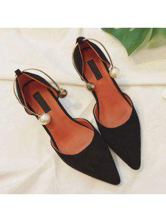 Pointed Toe Srange Style Pumps - Black 38