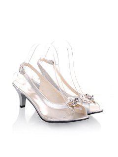 Slingback Transparent Plastic Sandals - Silver 37