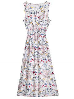 Sleeveless Floral Printed Mid Calf Dress - White Xl