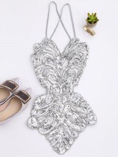 Beaded Cross Back Sequins Teddies - Silver Gray