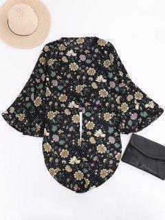 Flare Sleeve Floral Chiffon Blouse - Black L