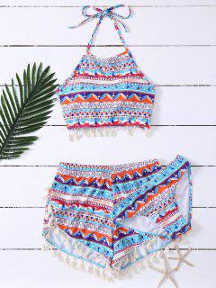 Tassel Halter Printed Bathing Suit - Blue M