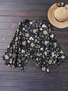Knot Hem Floral Flare Sleeve Blouse - Black L