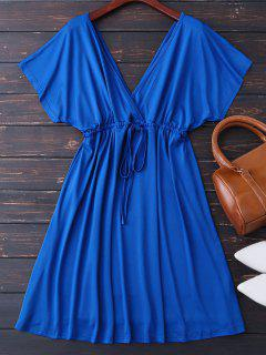 Vestido Con Escote Pico De Espalda Con Cordón - Azul Zafiro M