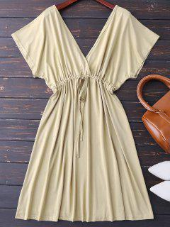 Plunge V Back Drawstring Dress - Khaki M