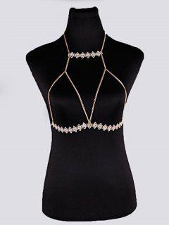 Hanging Neck Geometric Bra Chain - Golden