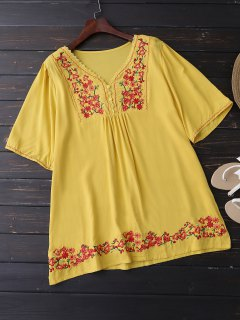 Floral Embroidered Swing Blouse - Yellow