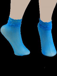Lace Trim Embellished Fish Net Over Short Ankle Socks - Blue