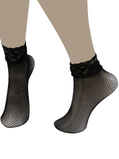 Lace Trim Embellished Fish Net Over Short Ankle Socks - Black
