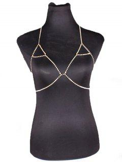 Chain Rhinestoned Triangle Body Bra - Or