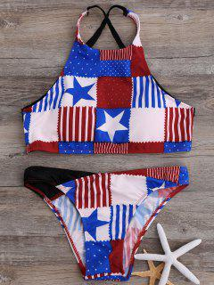 American Flag High Neck Bikini Bathing Suit - Blue And White And Red S