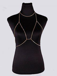 Geometric Bra Chain And Necklace - Golden