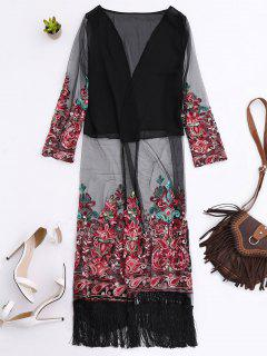 Embroidered Open Front Long Duster Coat - Black