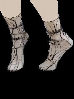 Calcetines De Encaje Transparente Con La Grieta Jacquard - Negro