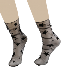 Sheer Lace Socks With Star Or Snowflake Jacquard - Black