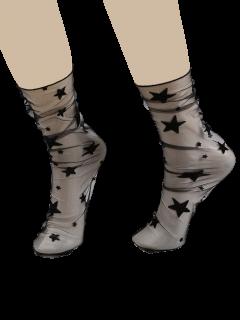Calcetines De Encaje Transparente Con Estrella O Copo De Nieve Jacquard - Negro