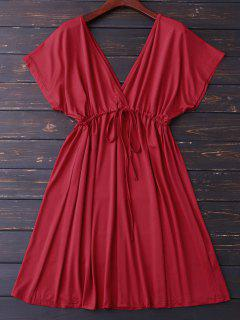 Robe Col V Plongeant à Lacet - Rouge L