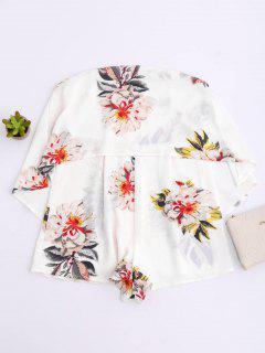 Combishort Floral à Volants - Blanc S