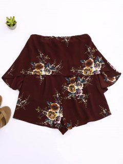 Rose Flounced Romper - Wine Red M