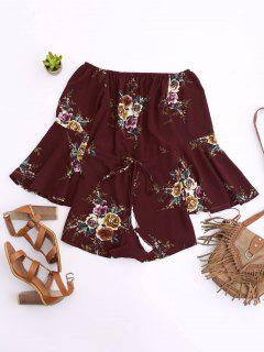 Off Shoulder Drawstring Waist Floral Romper - Wine Red S