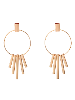 Bars Circle Earrings - Golden