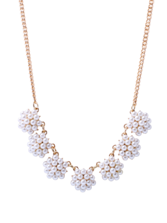 Artificial Pearl Flower Ball Necklace - White