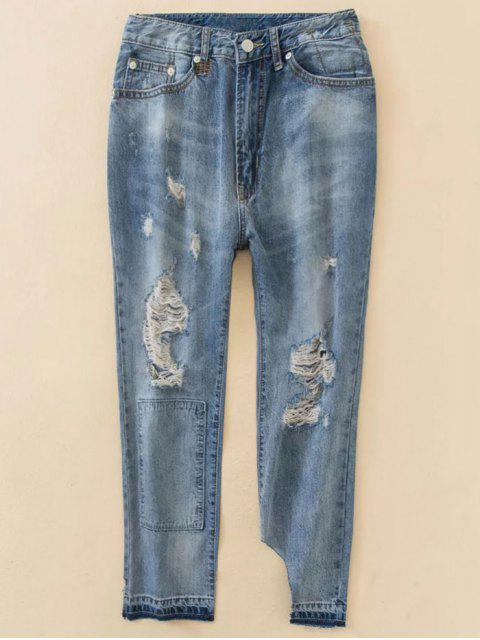 affordable Distressed Boyfriend Jeans - BLUE M Mobile