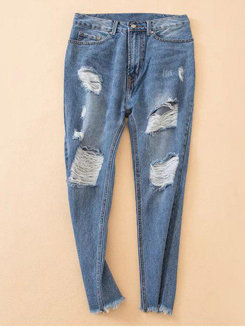 women Distressed Frayed Hem Tapered Jeans - DENIM BLUE L Mobile
