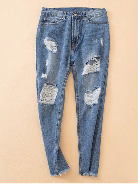 ladies Distressed Frayed Hem Tapered Jeans - DENIM BLUE S Mobile