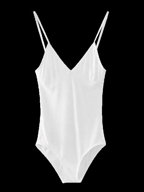 Cami Bodysuit mit tiefem Ausschnitt - Weiß Eine Größe Mobile