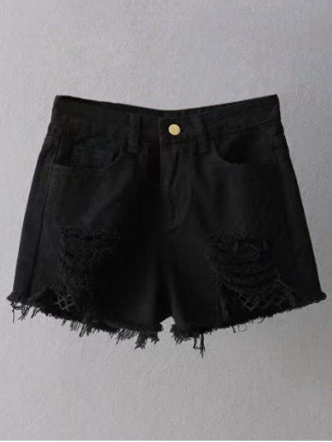 Résille Insérer Ripped Denim Shorts Cutoff - Noir M Mobile