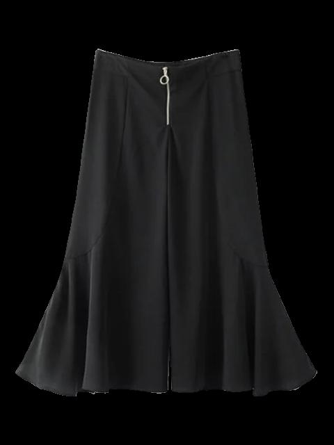 Pantalon capri de jambe large à volants - Noir S Mobile