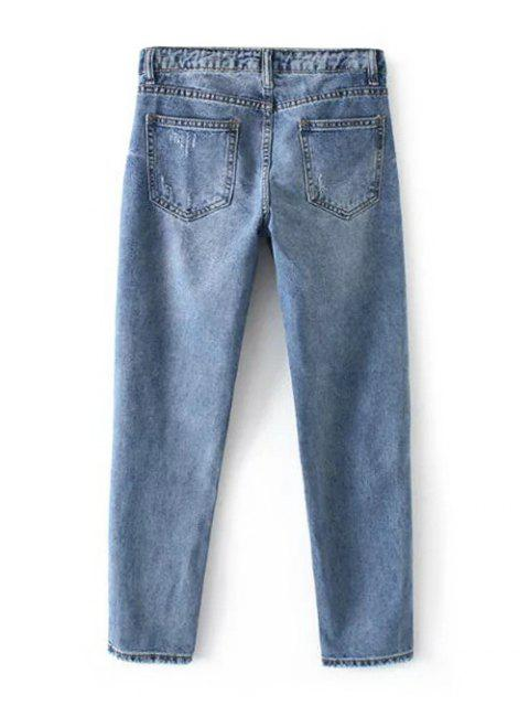 womens Letter Embroidered Ripped Trapeze Jeans - LIGHT BLUE XL Mobile