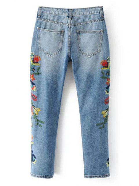 ladies Embroidered Flower Tapered Jeans - LIGHT BLUE S Mobile