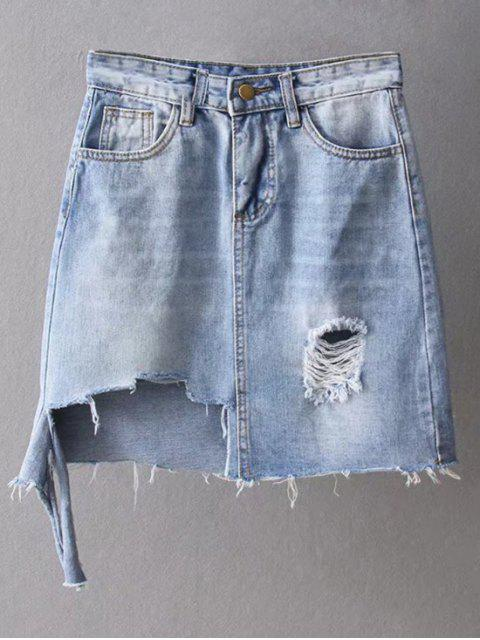 best Asymmetric Frayed Hem Distressed Denim Skirt - LIGHT BLUE M Mobile