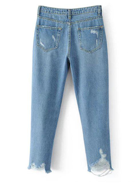 best Frayed Ripped Tapered Jeans - LIGHT BLUE L Mobile