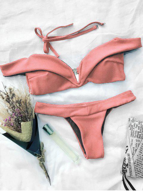 fashion V Plunge Off The Shoulder Bikini Swimwear - ORANGEPINK S Mobile