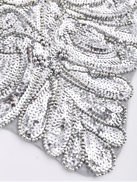 women Beaded Cross Back Sequins Teddies - SILVER GRAY ONE SIZE Mobile