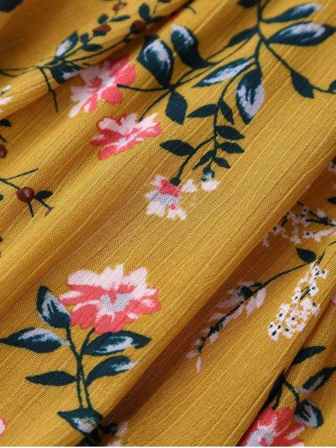 unique Floral Plunging Neck Cut Out Dress - YELLOW M Mobile