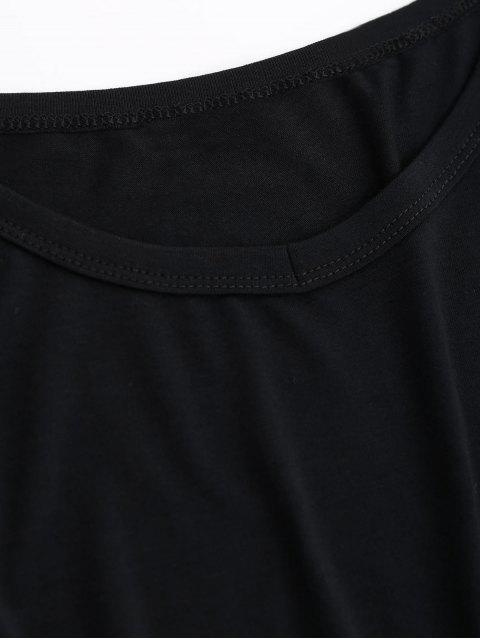 T-shirt plissé découpé - Noir S Mobile