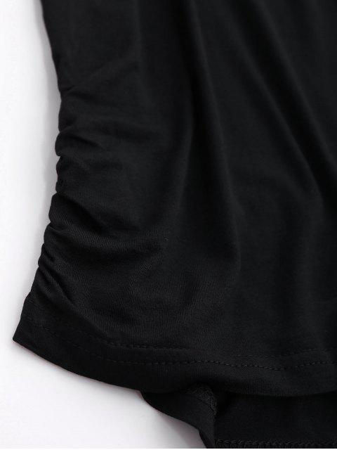 hot Ruched Cut Out T-Shirt - BLACK L Mobile