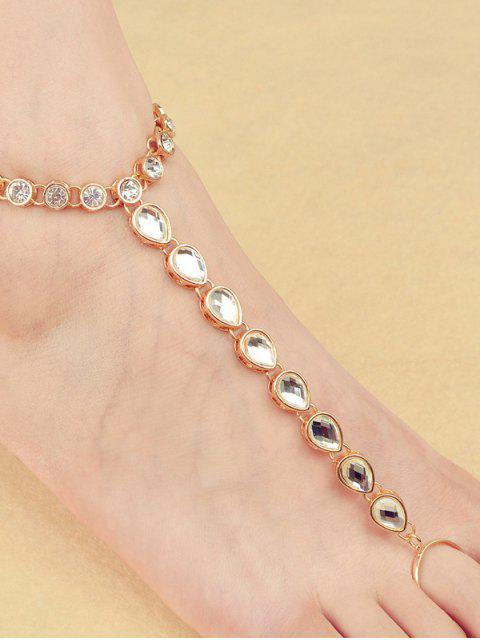 outfit ONE PIECE Rhinestoned Teardrop Anklet - GOLDEN  Mobile