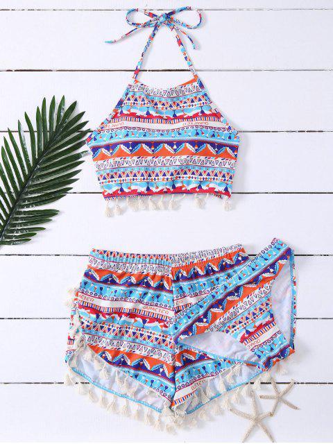outfit Tassel Halter Printed Bathing Suit - BLUE L Mobile