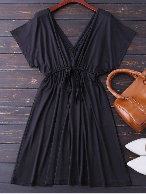 lady Plunge V Back Drawstring Dress - BLACK L Mobile